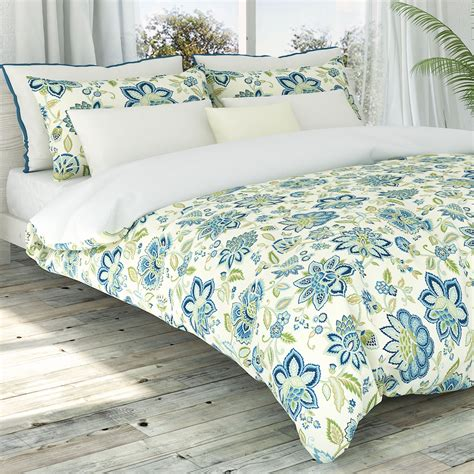 Blue Floral Duvet blue jacobean floral duvet cover set by colorfly