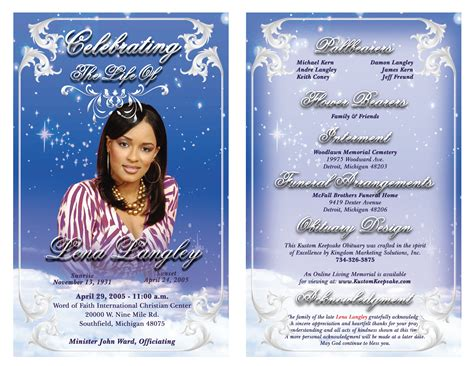 Free Obituary Template Cyberuse Free Downloadable Obituary Program Templates