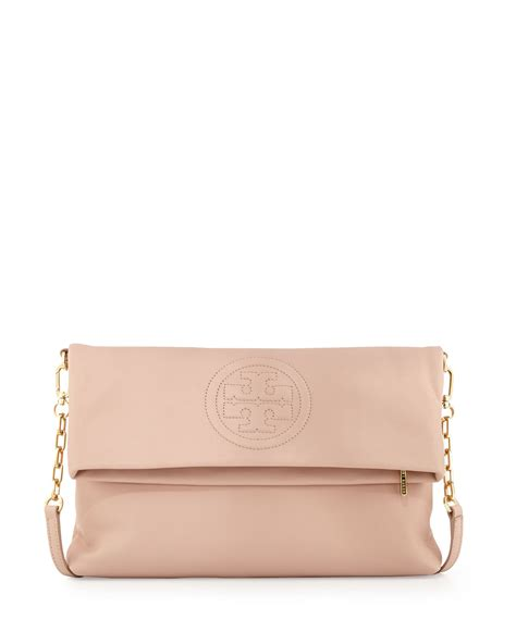 light pink crossbody purse tory burch bombe foldover crossbody clutch bag pink in