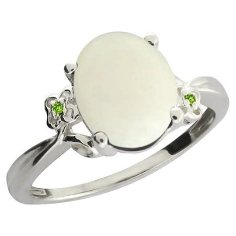 Cincin Oval Olive Green Peridot Size Silver buy 2 16 ct oval cabouchon white opal peridot sterling silver ring style stuffies