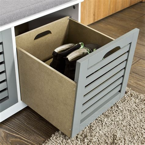 Sitting Bench With Drawers Sobuy 174 Shoe Cabinet Storage Bench With Drawers Removable