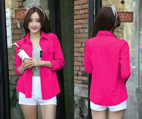 Axara Pink Opdress Lengan Panjang Murah Cantik baju hem quot kemeja basic polos quot lengan panjang wanita