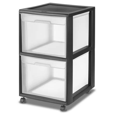 Plastic Storage Drawers Big W by Sterilite 2 Drawer Black File Cart Walmart Ca
