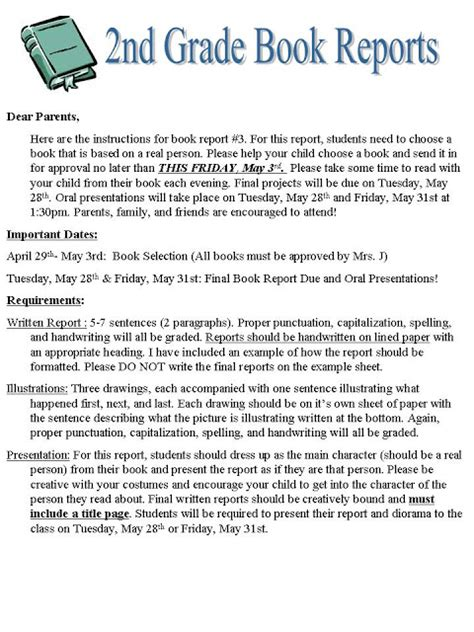 2nd grade book report format search results for 2nd grade book report format