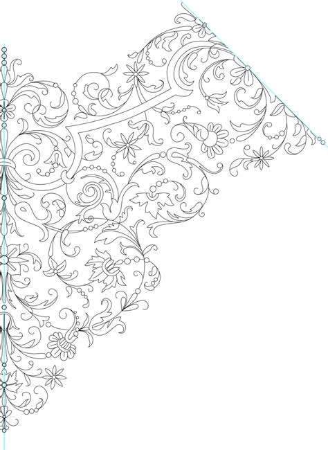 Embroidery Pattern Image | handkerchief embroidery pattern lineart by kithplana on