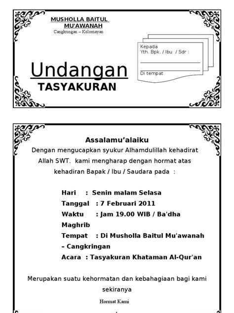 undangan contoh walimatussafar undangan tasyakuran haji doc
