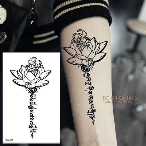 buddha lotus designs temporary tattoo letters sanskrit