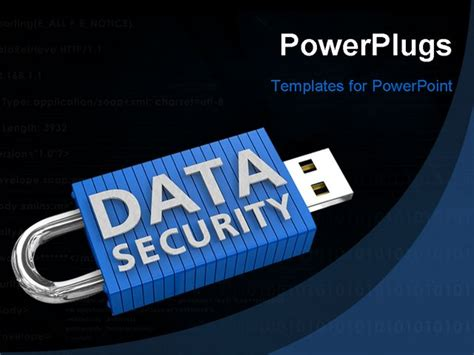 information security powerpoint template locked usb device depicting the security of data on