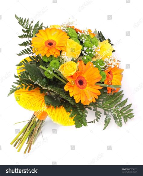 Wedding Bunch Of Flowers by Wedding Bunch Flowers On White Background Stock Photo