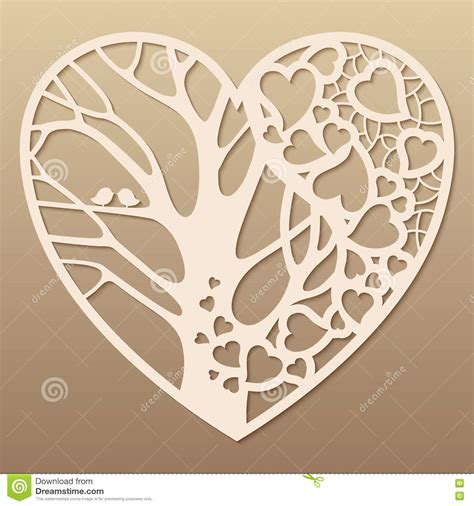Openwork Heart With A Tree Inside Stock Vector Illustration Of Love Pattern 73242761 Free Laser Engraving Templates