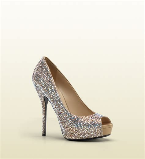 Gucci Heels 1 gucci sofia etoile high heel opentoe platform with strass embroidery in beige lyst