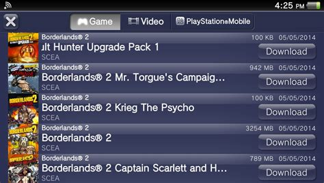 download free full version games for ps vita borderlands 2 on psn requires large memory card space on