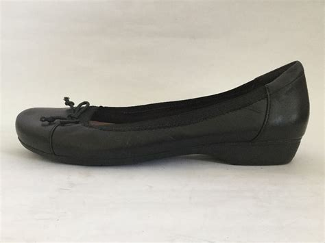 black leather flat shoes womens clarks womens black leather ballet flats shoes size 6 5 m