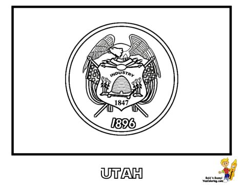 coloring pages utah noble usa flags printables state flags nebraska