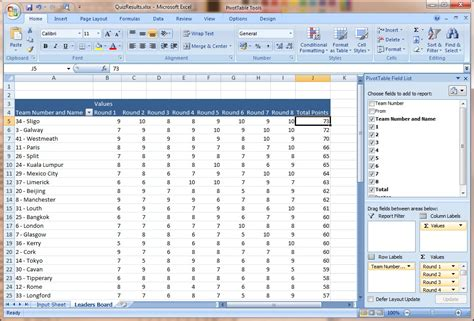 how to use excel to autogenerate a quiz scoreboard