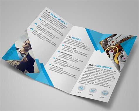 free modern blue tri fold brochure template psd titanui