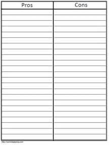 pros and cons list template t chart pros and consworksheets