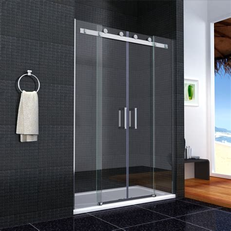 Glass Shower Sliding Doors Shower Enclosure Sliding 6mm Glass Door Cubicle Screen Side Panel And Tray Ebay