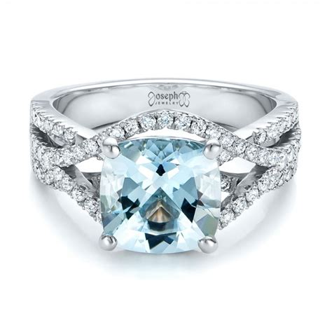 custom aquamarine and engagement ring 100895