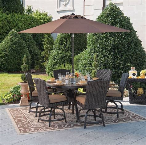 Outdoor Furniture Patio Dining Set Wicker Rattan 7pc Balcony Height Patio Table