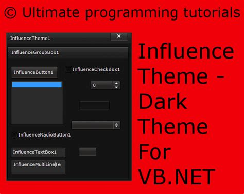 list theme vb net influence theme dark theme for vb net ultimate