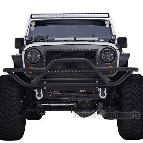 jeep front grill 2007 2017 jeep wrangler jk black rock crawler tubular