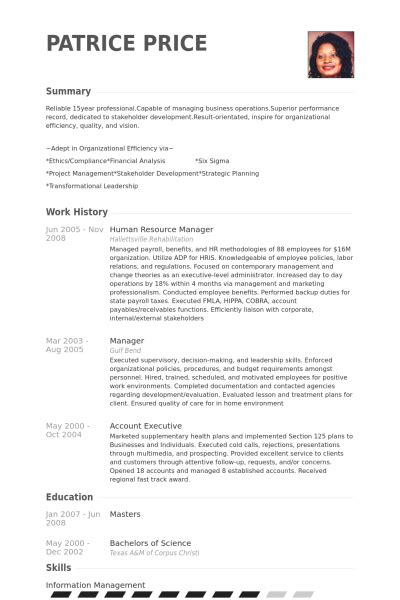 Human Resource Manager Resume by Human Resource Manager Resume Sles Visualcv Resume