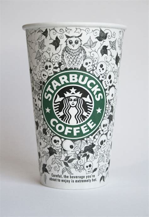 illustrator intricately decorates starbucks cups