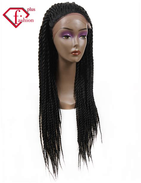 african box braided front lace wigs hot selling synthetic braiding hair wig kanekalon box