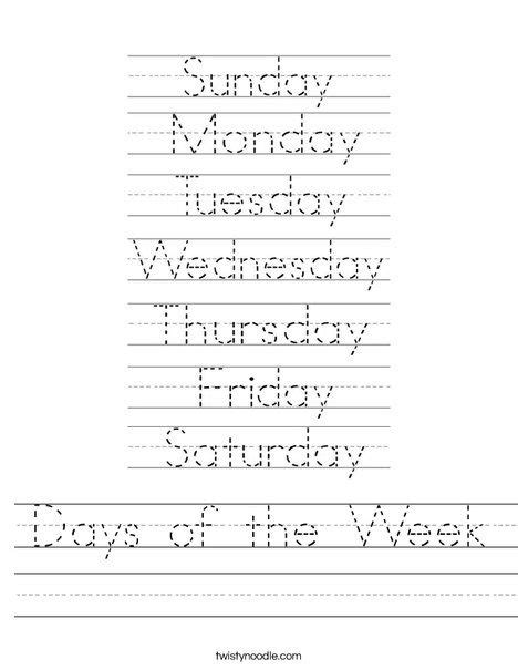 Traceable Words Worksheets by Days Of The Week Worksheet From Twistynoodle This Site