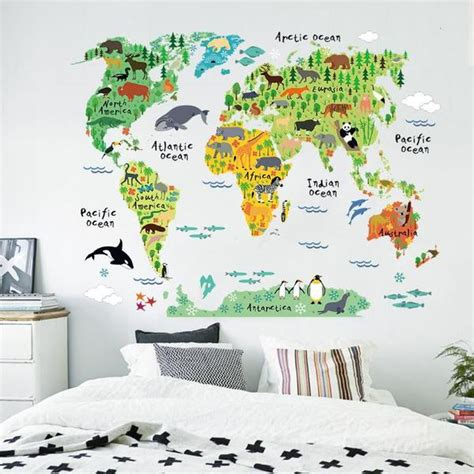 Baby Animals Sk9104 Stiker Dinding Wall Sticker world map wall sticker for watermelon warehouse