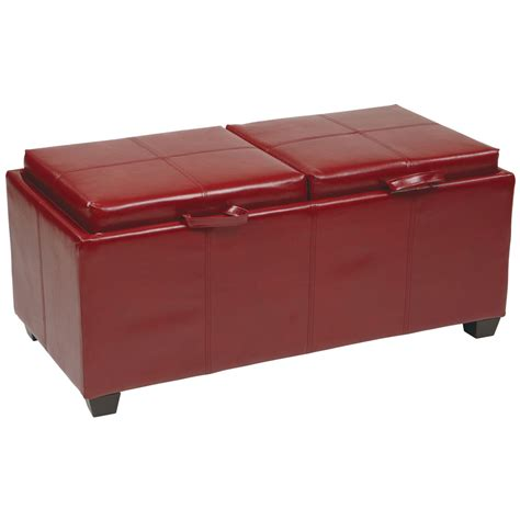 Storage Ottoman With Dual Trays In Ottomans Ottomans With Trays And Storage