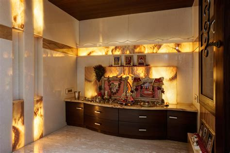 Pooja Ghar In Living Room Photos India N Design Inditerrain The Charm Of A Well Lit Home