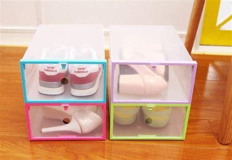 Rak Buku Plastik Bongkar Pasang kotak sepatu lipat bongkar pasang praktis simpan sepatu