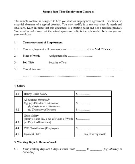 time employment contract template 8 sle employment contracts sle templates
