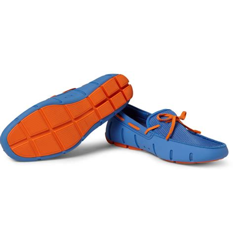 swims rubber loafers lyst swims lace up rubber loafer blue orange in blue