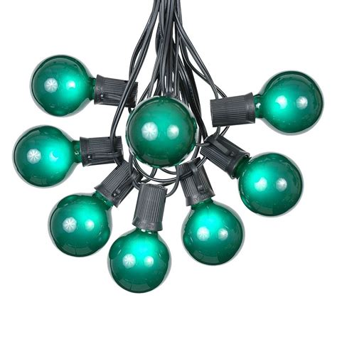 100 green g50 globe string light set on black wire