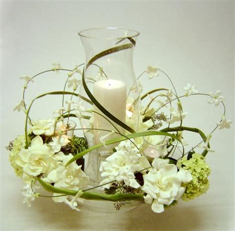 hurricane centerpiece hurricane centerpiece with stephanotis and gardenias