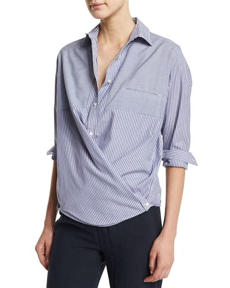 Ayra Top In Blue Stripe vince striped crossover button popover top in blue lyst