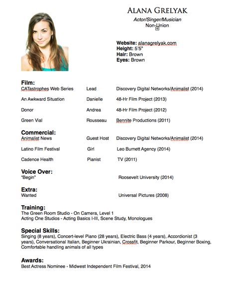 sle of acting resume actor resume sles 28 images special skills and talents