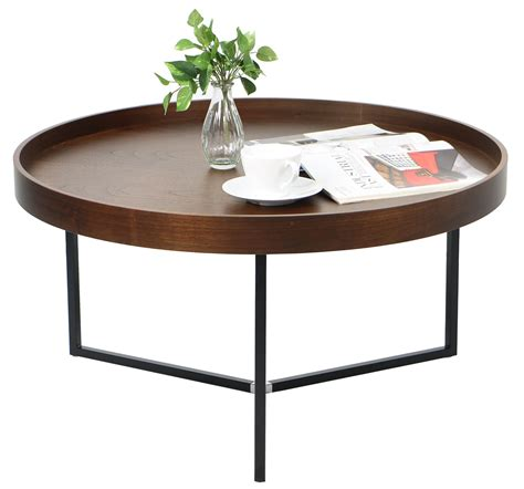 Barrie Walnut Round Tray Table modern walnut coffee table