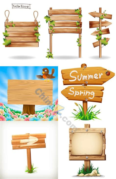 wood sign vector design free download