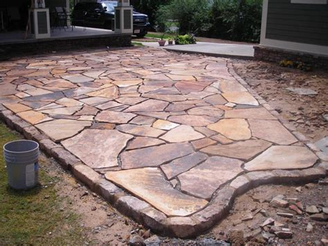 Backyard Flagstone Patio Ideas Stacked Garden Edging Brown Flagstone Garden Patio With Moss Rock Border