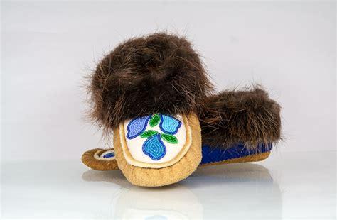 beaver fur slippers moosehide moccasins handmade by skilled acho dene