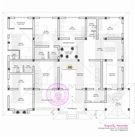 Designing Floor Plans Residence With Office Kerala Home Design And Floor Plans