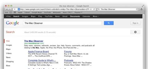 Search From Address Bar Safari 6 0 1 Restores Access To Search Specific Addresses The Mac Observer