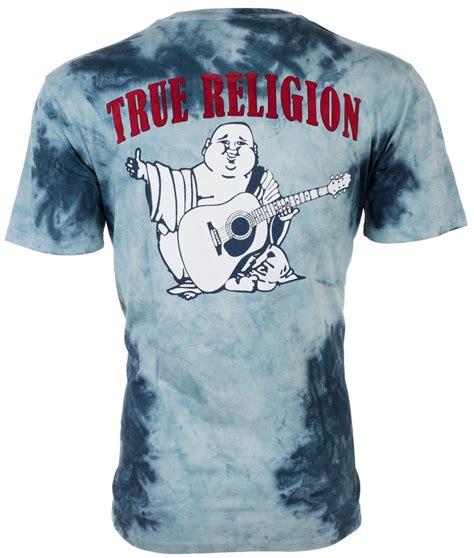 true religion mens t shirt tie dye buddha waves blue