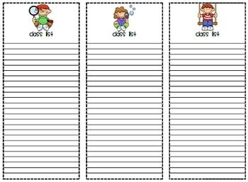 free class list templates for teachers printable class lists by mrs magee teachers pay teachers