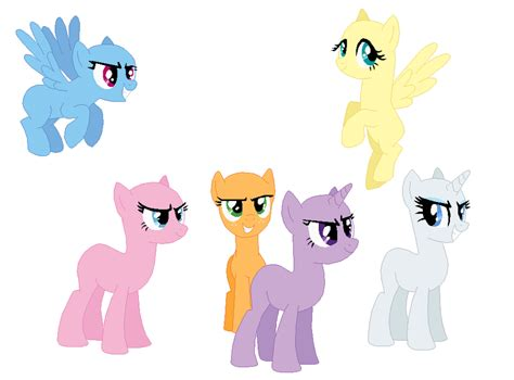 my little pony mane 6 base mane six base by selenaede on deviantart