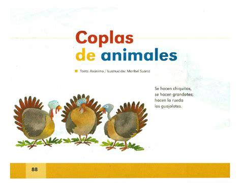 coplas de rosas y con dibujo coplas de animales espa 241 ol lecturas 2do grado apoyo
